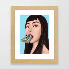 She speaks money Framed Art Print