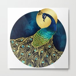 Golden Peacock Metal Print