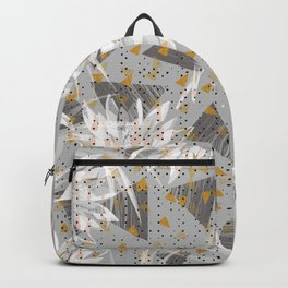 Abstract triangles and lotus Backpack