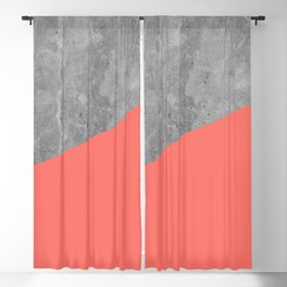 Living Coral on Concrete Geometrical Blackout Curtain