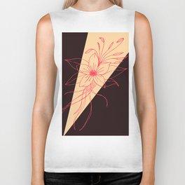 Modern Peach, Coral, and Black Floral Triangles Biker Tank