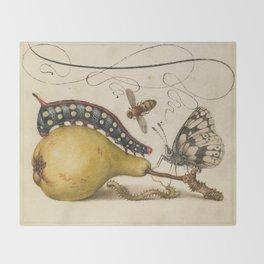 Pear Butterfly Caterpillar Throw Blanket