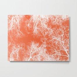 White silhouetted trees on orange Metal Print