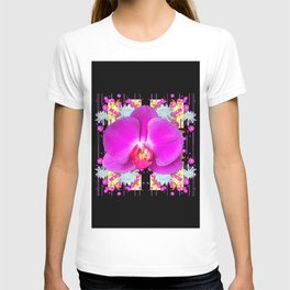 BLACK PURPLE BUTTERFLY ORCHID WHITE MUMS Flowers T-shirt