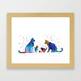 Cat family Framed Art Print