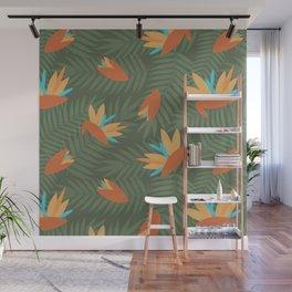 Vintage Florida Birds of Paradise Pattern Wall Mural