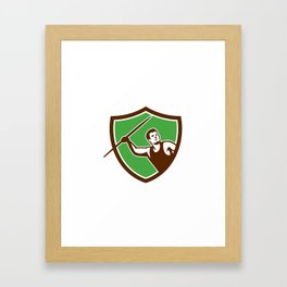 Javelin Throw Track and Field Athlete Shield Framed Art Print