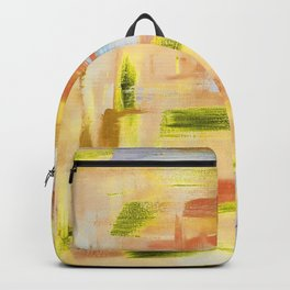 Desert dance: minimal, acrylic abstract painting in orange, amber and gold / Variation Seven Backpack