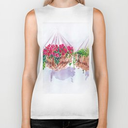 Brightly coloured flowers hanging in my baskets   By Sarah Cannon Biker Tank