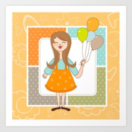 Adorable Cute Girl and Her Balloons Art Print