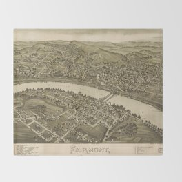 Vintage Pictorial Map of Fairmont WV (1897) Throw Blanket
