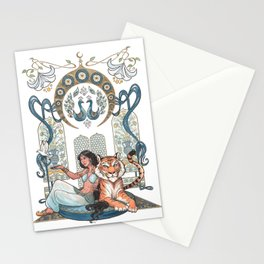 Every Girl Is A Princess 03: Arabian Nights Art Nouveau Aladdin's Princess Jasmine and Rajah Stationery Cards