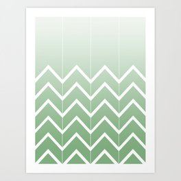 Broken Chevrons (Green) Art Print