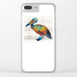 Colorful Pelican Art By Sharon Cummings Clear iPhone Case