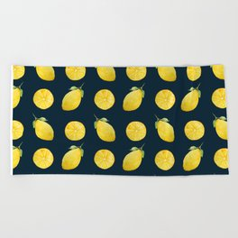 Watercolor Lemon Pattern Beach Towel