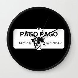 Pago Pago American Samoa Map GPS Coordinates Artwork Wall Clock