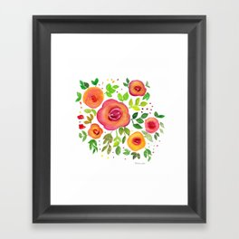 Bright Flowers Floral Bouquet - Watercolor Painting Framed Art Print