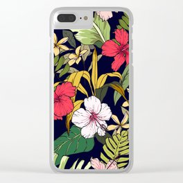 Tropical Island Oasis Floral Pattern Clear iPhone Case