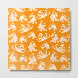 Orange Larger Pacific Striped Octopuses Metal Print