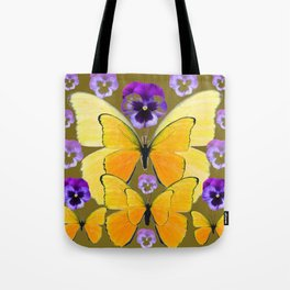 SPRING PURPLE PANSY FLOWERS & YELLOW BUTTERFLIES GARDEN Tote Bag