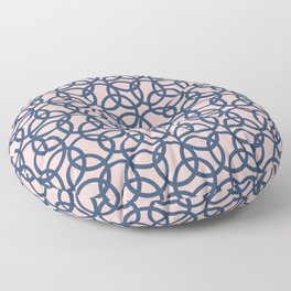 Olympic Navy on Blush Floor Pillow