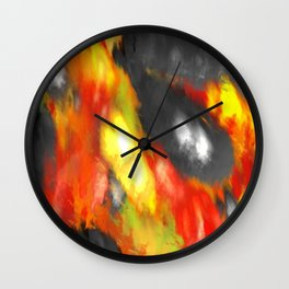 Black Red Yellow White Bold Bokeh Cool Pop Art Abstract Wall Clock