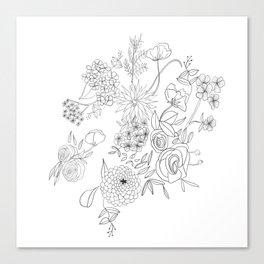 Dahlia Floral Cluster Canvas Print