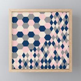 Honeycomb Blush and Grey Framed Mini Art Print
