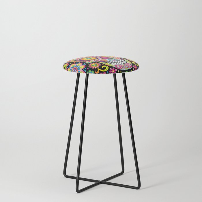 Beau Sugar Skull Art (Spark) Counter Stool