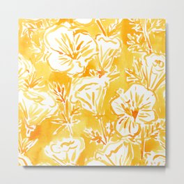 CALI POP Yellow California Poppies Metal Print