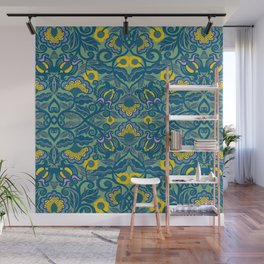 Blue Vines and Folk Art Flowers Pattern Wall Mural