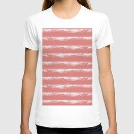Irregular Stripes Coral T-shirt