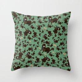 Shy european mink pattern Throw Pillow