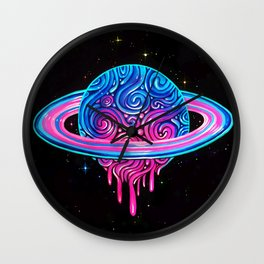 Drippy Saturn Wall Clock