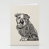 english bulldog Stationery Cards featuring Polynesian English Bulldog by Huebucket