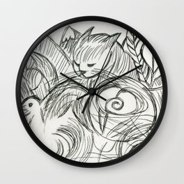 Cat in the Dreamtime Wall Clock