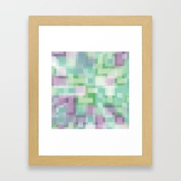 Soft Squares in Pastel Purple and Green Framed Art Print