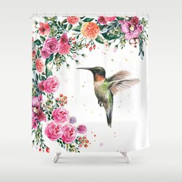 Hummingbird and Flowers Watercolor Animals Shower Curtain