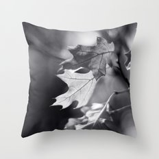 Winter Oak in Black and White Throw Pillow