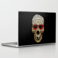 crossfit Laptop & iPad Skins featuring Skull Art - Day Of The Dead 3 Stone Rock'd by Sharon Cummings