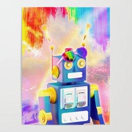 Rainbow Robot Wearing Love Heart Glasses Poster