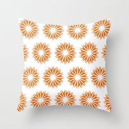 Tangerine Modern Sunbursts Throw Pillow