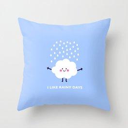 Cute rain cloud Throw Pillow