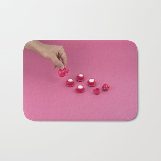 Tiny pink tea party Bath Mat