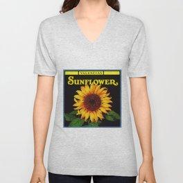 Vintage Yellow Orangedale Sunflower Crate Decorative Art Label Poster Unisex V-Neck