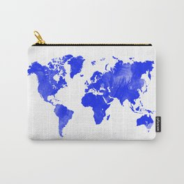Blue watercolor world map Carry-All Pouch
