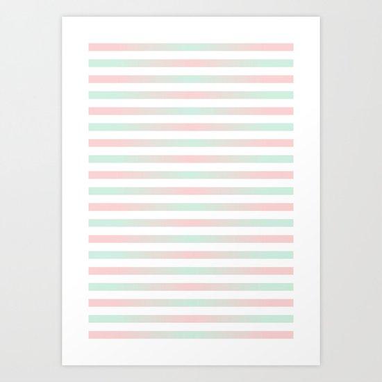 Stripes In Blue & Pink 2 Art Print