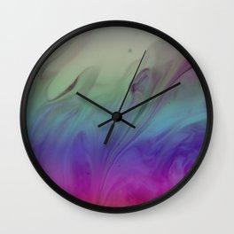 Fluid Nature - Rainbow Smoke - Acrylic Pour Art Wall Clock