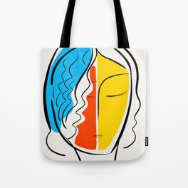 Graphic Minimal Portrait Design Orange Yellow and Blue Tote Bag