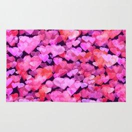 Boken watercolor romantic hearts Rug